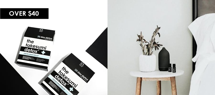 kaia naturals charcoal underarm detox kit and vitruvi stone diffuser feature image for over $40