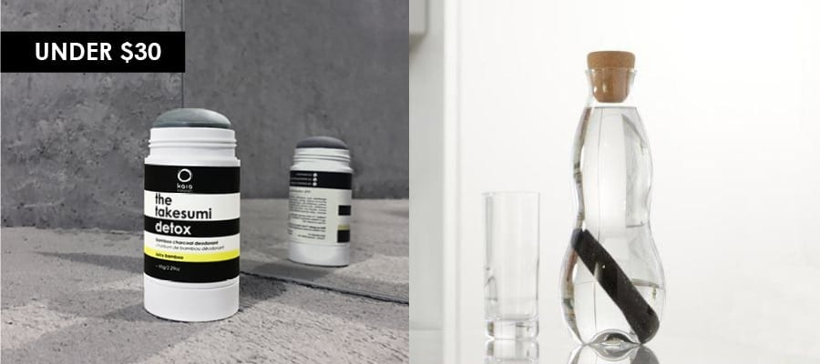 kaia naturals natural charcoal deodorant and black and blum charcoal water filter bottle feature image for under $30